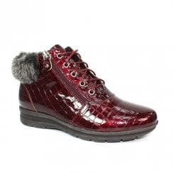 Lunar GLB019 Betsy Burgundy Patent Croc Low Wedge Ankle Boots