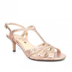 Lunar FLR524 Francie Wide Fit Gemstone Heeled Sandals - Rose