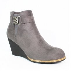 Lunar Carmen II Grey Wedge Heeled Fashion Boots