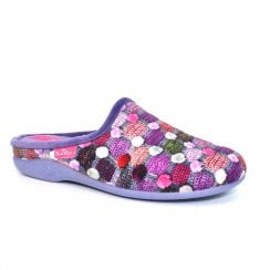 Lunar Womens Crackle Slip On Slipper KLA096 - Purple