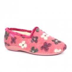 Lunar Womens Crocus Full Floral Slippers - Pink