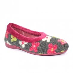 Lunar Womens Shazam Flower Pump Slippers - Grey Pink