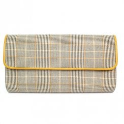 Lunar Womens Samia Clutch Handbag - Beige/Yellow Tartan