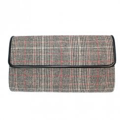 Lunar Womens Samia Clutch Handbag - Black/Grey Tartan