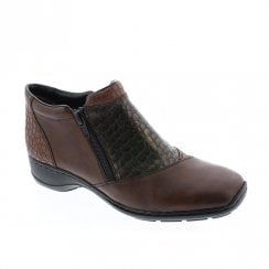 Rieker Womens Comfort Low Wedge Ankle (E Width) Boots - Brown