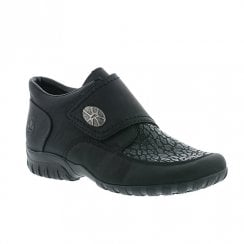 Rieker Womens Comfort Chunky Wedge Velcro Shoes - Black