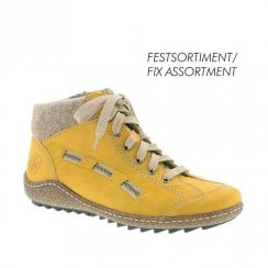 Rieker Womens Lace Up (E Width) Flat Ankle Boots - Yellow