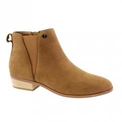 Susst Patsy-9 Tan Low Heel Zip Chelsea Ankle Boots