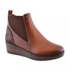 Susst Andie-9 Dark Tan Wedge Heeled Chelsea Ankle Boots