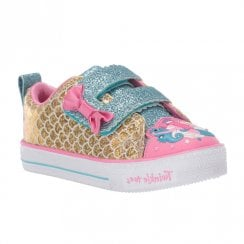 Skechers Toddler Twinkle Toes Mermaid 20163N Girls Velcro Sneakers - Gold