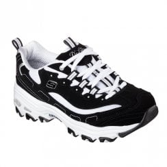 Skechers Womens D'Lites Biggest Fan Leather Sneakers - Black