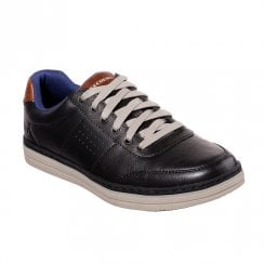 Skechers Mens Heston Avano Leather Lace Up Sneakers Shoes - Black