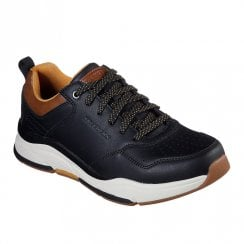 Skechers Mens Relaxed Fit Benago Treno Lace Up Sneakers Shoes - Black