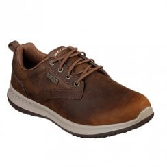 Skechers Mens Delson Antigo Leather Lace Up Sneakers Shoes - Brown