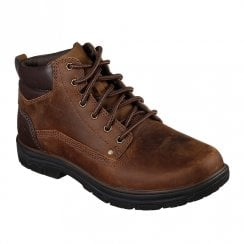Skechers Mens Relaxed Fit Segment Garnet Leather Lace Up Boots - Brown