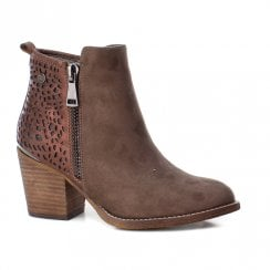 Xti Womens Block Heeled Side Zipper Ankle Boots - Taupe
