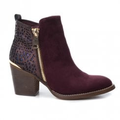 Xti Womens Block Heeled Side Zipper Ankle Boots - Burgundy