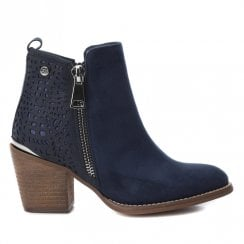 Xti Womens Block Heeled Side Zipper Ankle Boots - Navy