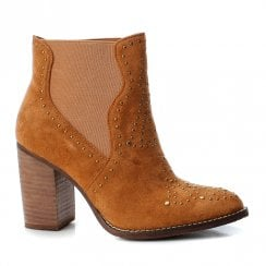 Xti Womens Block Heeled Suede Ankle Boots - Camel Tan