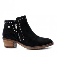 Xti Womens Mid Heeled Block Suede Cowboy Ankle Boots - Black