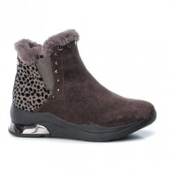 Xti Womens Leopard Print Flat Wedge Ankle Boots - Grey