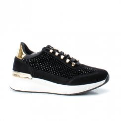 Xti Womens Flat Wedge Heeled Lace Up Sneakers Shoes - Black