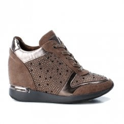 Xti Womens High Inner Wedge Heel Lace Up Sneakers Shoes - Taupe
