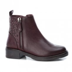 Xti Girls Two Side Zip Low Block Ankle Boots - Burgundy
