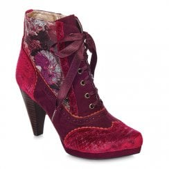 Ruby Shoo Peri High Heel Victorian Satin Laces Ankle Boots - Bordeaux