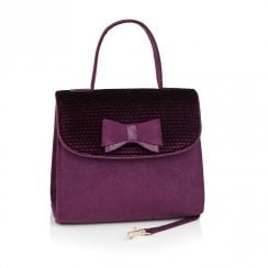 Ruby Shoo Lucca Purple Spotted Velvet Handbag