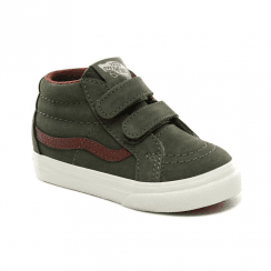 Vans Kids Green Suede Leather Sk8-Mid Reissue V Hi Top Velcro Shoes