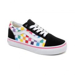 Vans Kids Girls Rainbow Checkerboard Old Skool Trainer Shoes