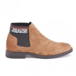 Tommy Hilfiger Suede Cognac Elasticated Panels Slip On Flat Ankle Boots