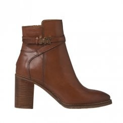Tommy Hilfiger Hardware Detail Brown Leather Block Heeled Ankle Boots