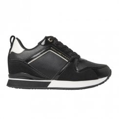 Tommy Hilfiger Womens Black Leather Concealed Wedge Trainers