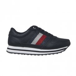 Tommy Hilfiger Womens Retro Navy Crystal Sneakers