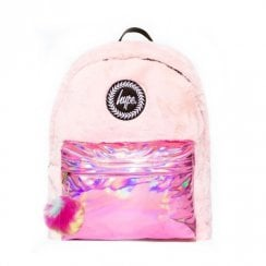 Hype Girls Fur Holographic Pom Pom Backpack - Pink