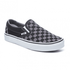 Vans Kids Checkerboard Classic Slip-On Trainers Shoes - Black/Pewter
