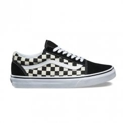 Vans Unisex Old Skool Primary Checkerboard Suede Canvas Trainers - Black/White