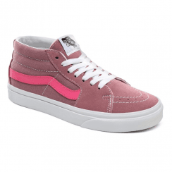Vans Womens Suede Canvas Retro Sport Sk8-Mid Trainers - Pink