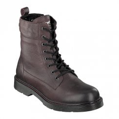 Mustang Mens Casual Lace Up Ankle Boots - Dark Burgundy