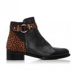 Moda In Pelle Kasso Black Leather Leopard Print Ankle Boots