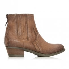Moda In Pelle Basky Tan Leather Western Ankle Boots