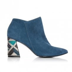 Moda In Pelle Kisha Exclusive Blue Teal Suede High Heeled Ankle Boots