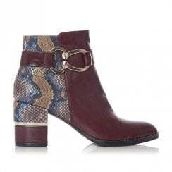 Moda In Pelle Loona Burgundy Multi Snake Leather High Heeled Ankle Boots