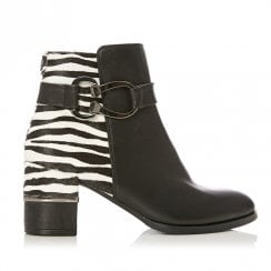 Moda In Pelle Loona Black Zebra Leather High Heeled Ankle Boots