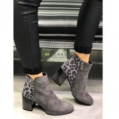 Zanni & Co Dishna Grey Suede Block Heel Ankle Boots