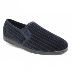 Lunar Goodyear Mens Striped Don Full Soft Slippers - Navy