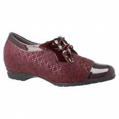 Pitillos Womens Lycra Mid Wedge Lace Up Derby Shoes - Burgundy