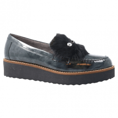 Pitillos Womens Mid Wedge Patent Leather Moccasins With Pompom - Grey